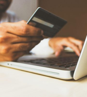 Showing how to input credit card information on a laptop